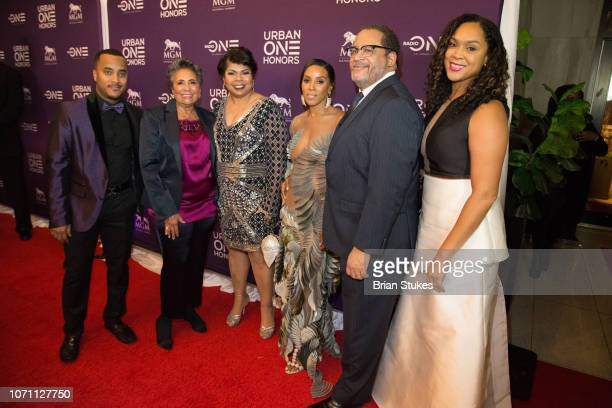 Dj Quicksilva Cathy Hughes April Ryan June Ambrose Michael Eric Dyson and Marilyn Mosby attend 2018 Urban One Honors at The Anthem on December 9 2018...