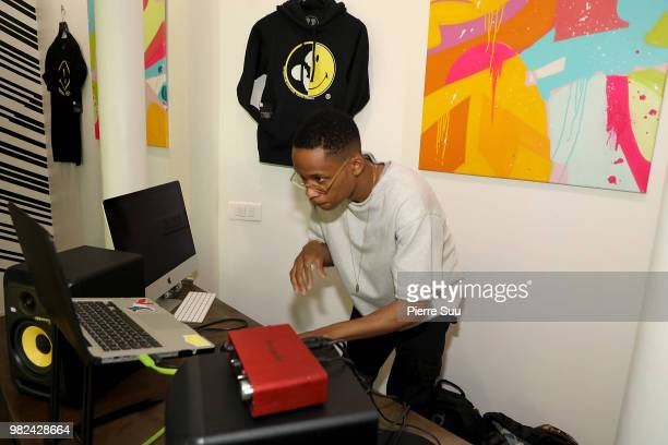 Dj Reymars attends the Boy Meets Girl Black Label X Smiley Original as part of Paris Fashion Week on June 23 2018 in Paris France