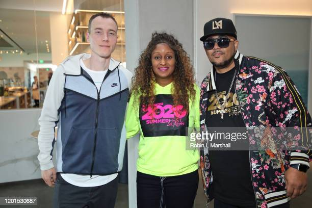Dj Skee, Chantal Grayson and Emcee N.IC.E. Attend God's House of Hip Hop Press Conference at Banc of California Stadium on January 23, 2020 in Los...