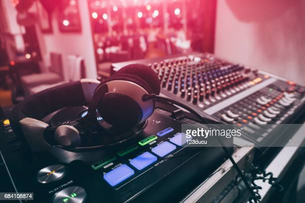 dj sound mixer close-up - sound recording equipment stock pictures, royalty-free photos & images
