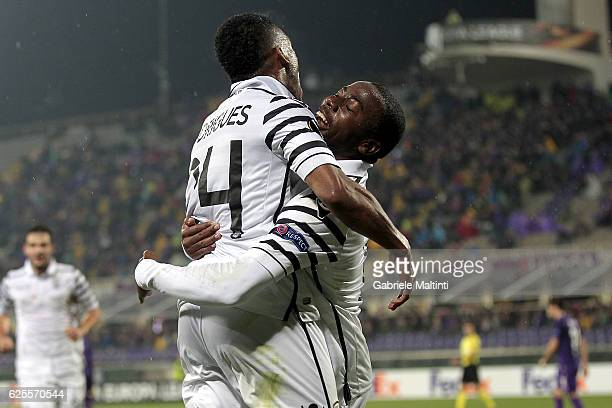 Djalma Campos R of PAOK FC celebrates after scoring a goal during the UEFA Europa League match between ACF Fiorentina and PAOK FC at Stadio Artemio...