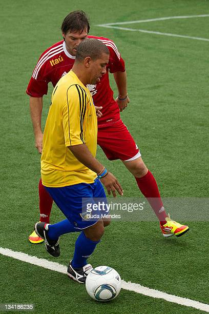 Djalminha from Brazil in action during a match as part of the the Soccerex Legends fiveaside Tournament at Copacabana Beach on November 27 2011 in...