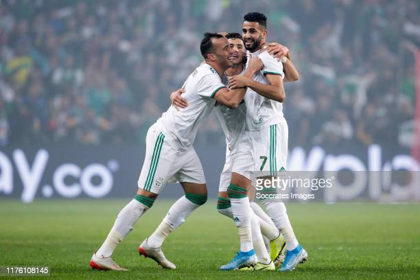 Djamel Eddine Benlamri of Algeria, Youcef Atal of Algeria, Riyad Mahrez of Algeria, celebrates the 2-0 during the International Friendly match...