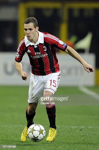 Djamel Mesbah of AC Milan in action during the UEFA Champions League group C match between AC Milan and Zenit St Petersburg at San Siro Stadium on...