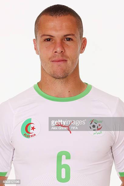 Djamel Mesbah of Algeria poses during the official FIFA World Cup 2014 portrait session on June 8 2014 in Sao Paulo Brazil