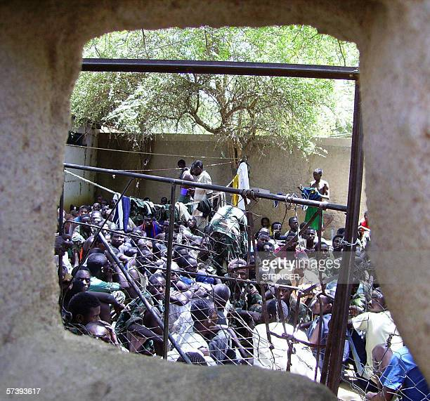 Rebels from the United Front for Change are held captive by the Chadian army 22 April 2006 after being captured in combat over the past three days....