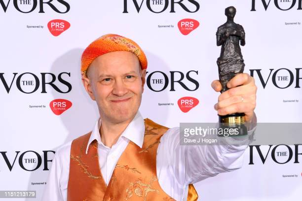 Django Bates wins the Ivors Jazz Award at The Ivors 2019 at Grosvenor House on May 23, 2019 in London, England.