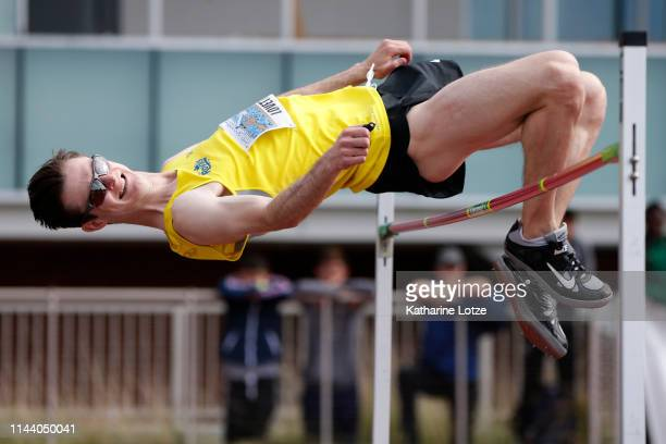 Django Lovett of Canada clears the bar in the men's high jump on the second day of the 61st Mt SAC Relays at Murdock Stadium at El Camino College on...