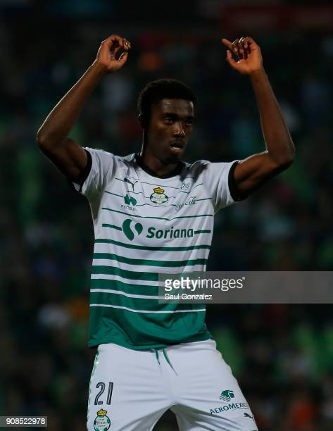 Djaniny Tavares of Santos celebrates after scoring the first goal of his team during the 3rd round match between Santos Laguna and Morelia as part of...