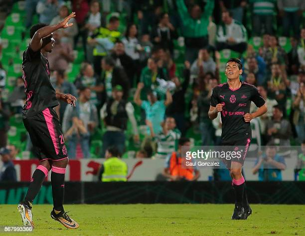 Djaniny Tavares of Santos celebrates after scoring the second goal of his team during the 15th round match between Santos Laguna and Pachuca as part...