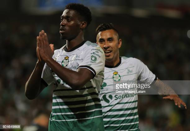 Djaniny Tavares of Santos celebrates after scoring the second goal of his team during the 9th round match between Santos Laguna and Cruz Azul as part...