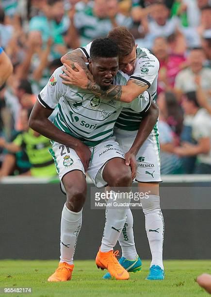 Djaniny Tavares of Santos celebrates after scoring the second goal of his team during the quarter finals second leg match between Santos Laguna and...