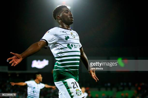 Djaniny Tavares of Santos celebrates after scoring the third goal his team during the first round match between Santos Laguna and Lobos BUAP as part...