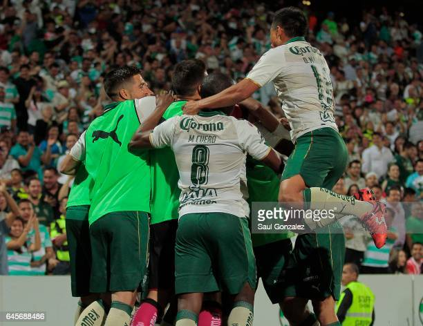 Djaniny Tavares of Santos celebrates with teammates after scoring the second goal of his team during the 8th round match between Santos Laguna and...