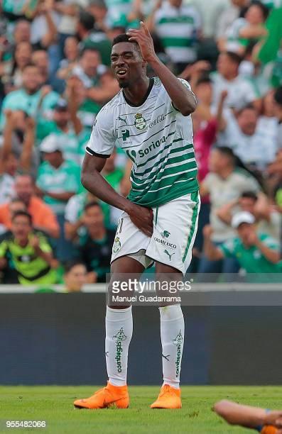 Djaniny Tavares of Santos gestures during the quarter finals second leg match between Santos Laguna and Tigres UANL as part of the Torneo Clausura...