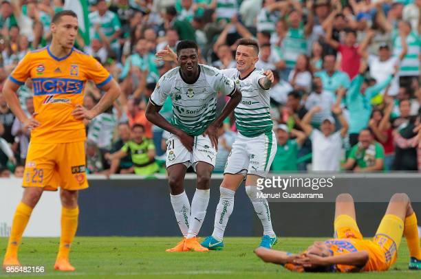 Djaniny Tavares of Santos reacts during the quarter finals second leg match between Santos Laguna and Tigres UANL as part of the Torneo Clausura 2018...