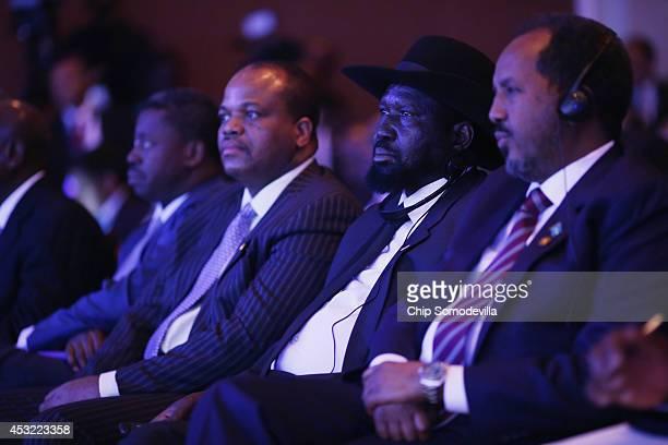 Djbouti President Ismail Omar Guelleh South Sudan President Salva Kiir Mayardit and Swaziland King Mswati III listen to US President Barack Obama...