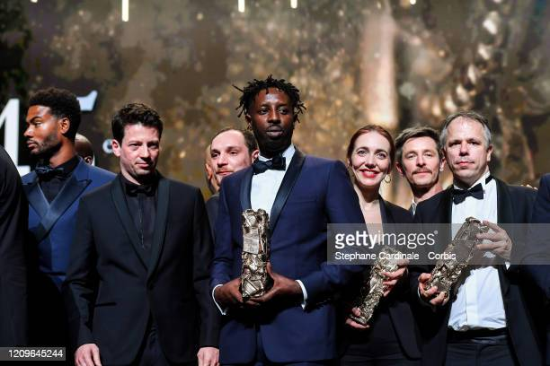 Djebril Zonga Christophe Barral Ladj Ly Flora Volpeliere and Olivier Goinard on stage during the Cesar Film Awards 2020 Ceremony At Salle Pleyel In...