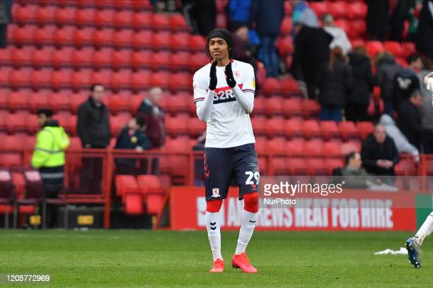 Djed Spence of Middlesbrough applaud the fans during the Sky Bet Championship match between Charlton Athletic and Middlesbrough at The Valley London...