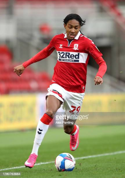 Djed Spence of Reading during the Sky Bet Championship match between Middlesbrough and Reading at Riverside Stadium on October 17 2020 in...