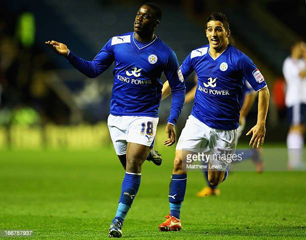 DJeff Schlupp of Leicester City celebrates his goal with Anthony Knockaert of Leicester City uring the npower Championship match between Leicester...