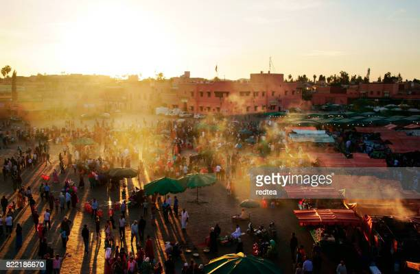 Djemaa El Fna Square with Koutoubia Mosque, Marrakech, Morocco