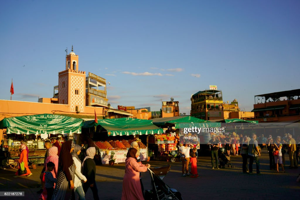 Djemaa El Fna Square with Koutoubia Mosque, Marrakech, Morocco : Stock Photo
