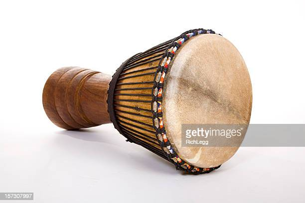 djembe drum on white - percussion instrument stock pictures, royalty-free photos & images