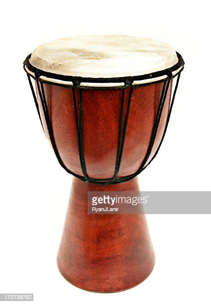 djembe wooden hand drum isolated on white - percussion instrument stock photos and pictures