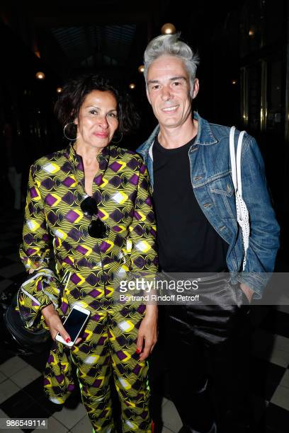 Djemila Khelfa and Pascal Humbert attend the Tan Giudicelli Exhibition of drawings and accessories preview at Galerie Pierre Passebon on June 28 2018...