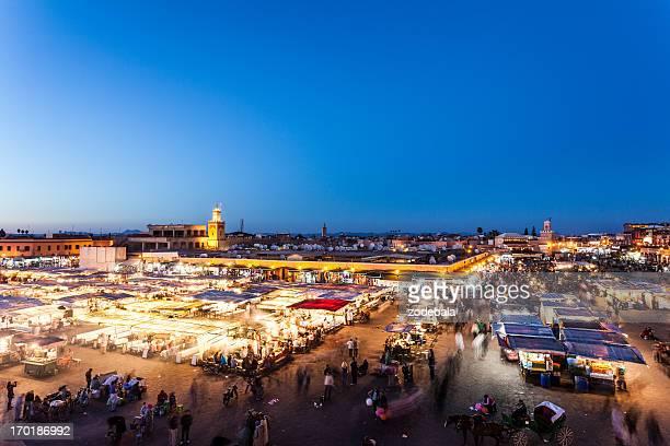 Djemma el Fna in Marrakech at Dusk, Morocco Landmark