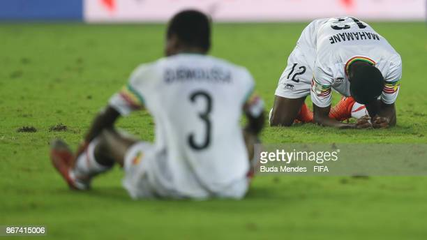 Djemoussa Traore and Mahamane Toure of Mali lament lost a goal during the FIFA U17 World Cup India 2017 3rd Place match between Brazil and Mali at...