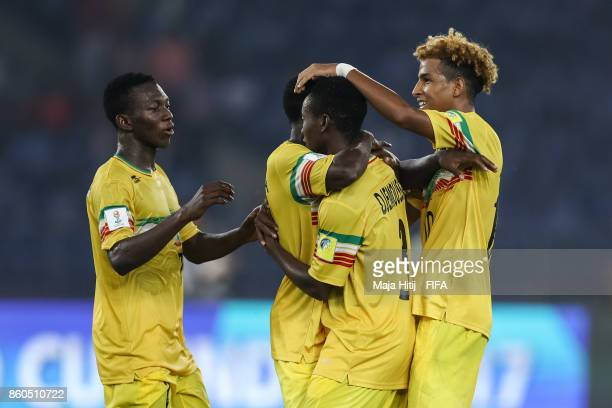 Djemoussa Traore of Mali celebrates with his teammates after scoring his team's second goal to make it 20 during the FIFA U17 World Cup India 2017...