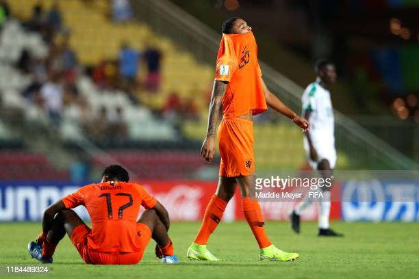 Djenairo Daniels of Netherlands and Jayden Braaf react after Senegal defeat Netherlands 3-1 in the FIFA U-17 World Cup Brazil 2019 group D match at...
