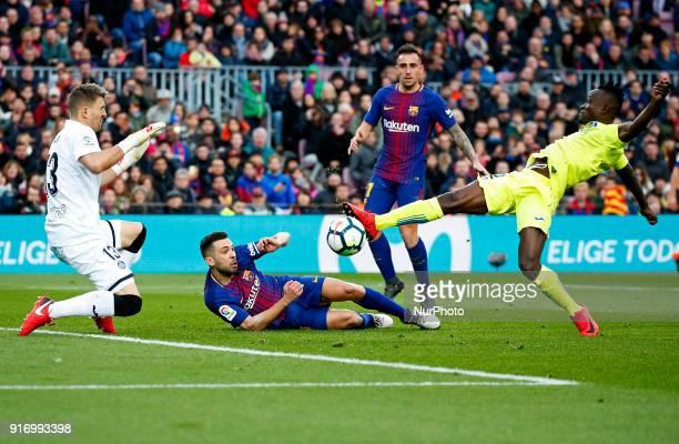 Djene Dakoman Guaita Jordi Alba and Paco Alcacer during the match between FC Barcelona and Getafe CF for the round 23 of the Liga Santander played at...