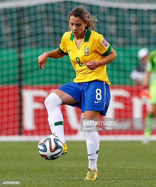 Djenifer of Brazil in action against China PR during the FIFA U20 Women's World Cup Canada 2014 Group B match between China PR and Brazil at...