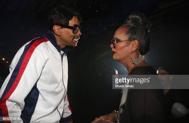 Host RuPaul and 'Drag Race Season 3' Winner Raja chat at the 'Fashion Does Drag Ball' Fashion Week celebration at The McKittrick Hotel on September 7...