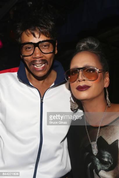 Host RuPaul and 'Drag Race Season 3' Winner Raja pose at the 'Fashion Does Drag Ball' Fashion Week celebration at The McKittrick Hotel on September 7...