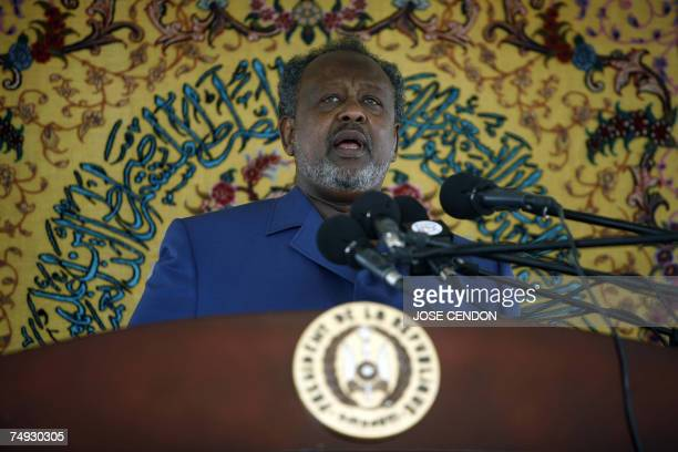 Djibouti President Ismael Omar Guelleh gives a speech at the presidential palace 27 June 2007 during the celebrations marking the 30th anniversary of...