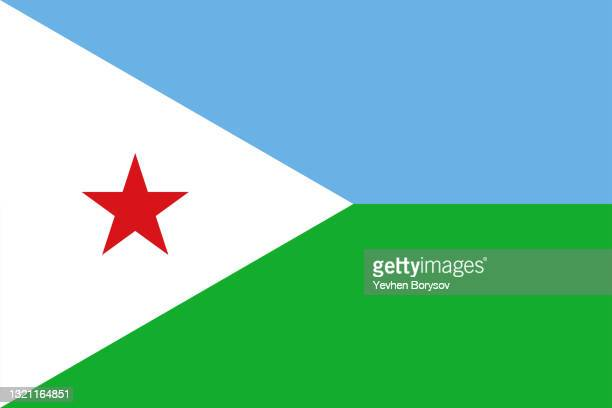 djibouti flag simple illustration for independence day or election - djibouti stock pictures, royalty-free photos & images