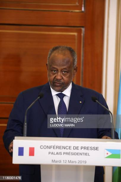 Djibouti president Ismael Omar Guelleh holds a press conference with French president at the presidential palace in Djibouti on March 12 2019 French...
