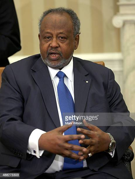 Djibouti President Ismail Omar Guelleh speaks during a meeting with US President Barack Obama in the Oval Office at the White House May 5 2014 in...