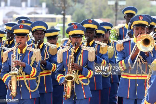 Djibouti's fanfare soldiers welcomes the Djibouti president and his French counterpart during an official military welcome ceremony at the...