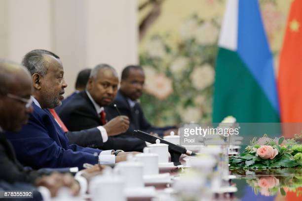 Djibouti's President Ismail Omar Guelleh speaks during a meeting with Chinese Premier Li Keqiang at the Great Hall of the People on November 24 2017...