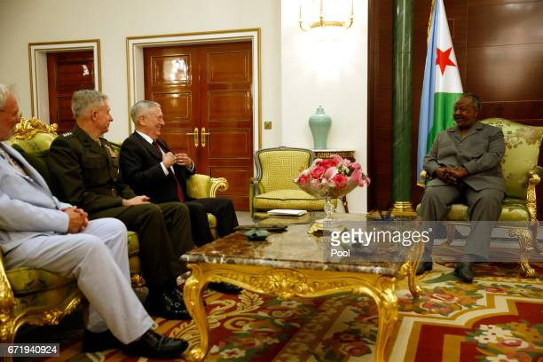 Djibouti's President Ismail Omar Guelleh welcomes US Defense Secretary James Mattis US Marine Corps General Thomas Waldhauser and US Embassy Charge...
