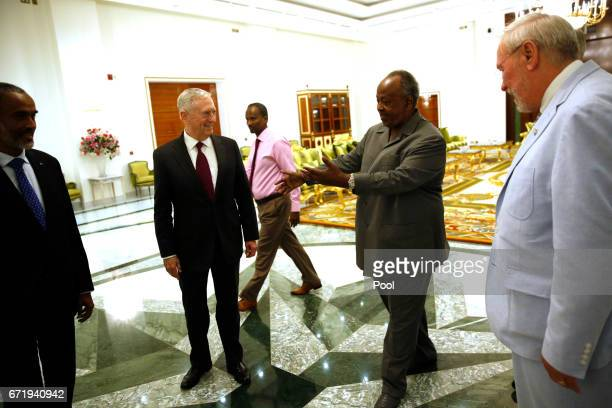 Djibouti's President Ismail Omar Guelleh welcomes US Defense Secretary James Mattis at the Presidential Palace on April 23 2017 in Djibouti Mattis is...