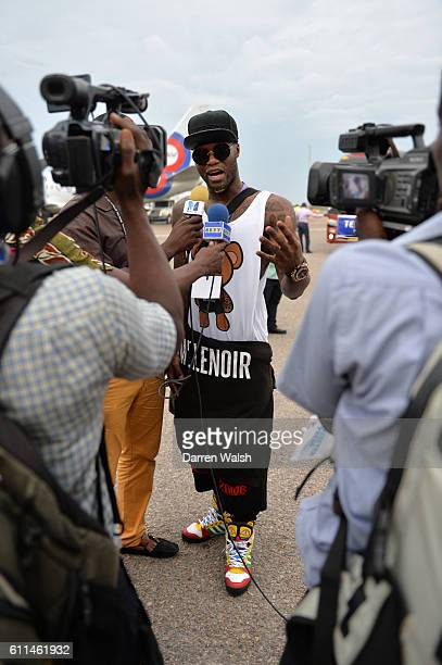 Djibril Cisse arriving at Accra International Airport for the Africa 11 v World 11 Essien's Game of Hope Inspiration on 7th June 2013 in Accra Ghana