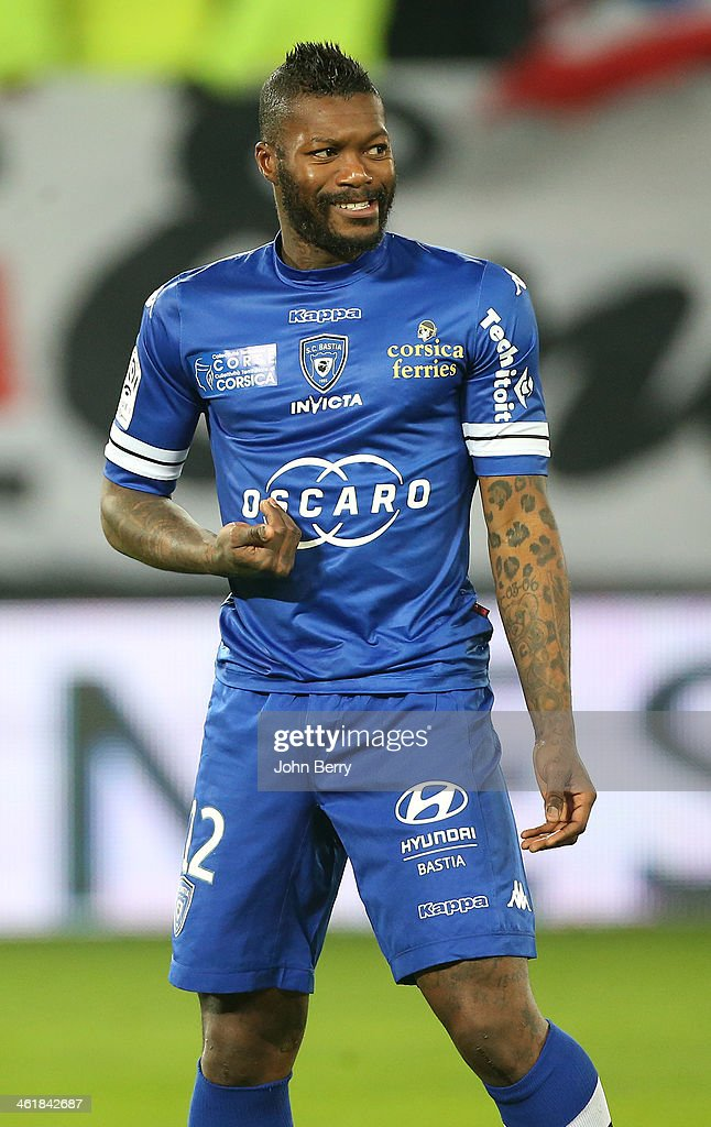Djibril Cisse of Bastia in action during the french Ligue 1 match between Valenciennes FC and SC Bastia at the Stade du Hainaut on January 11, 2014 in Valenciennes, France.