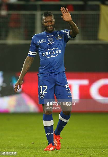 Djibril Cisse of Bastia in action during the french Ligue 1 match between Valenciennes FC and SC Bastia at the Stade du Hainaut on January 11 2014 in...