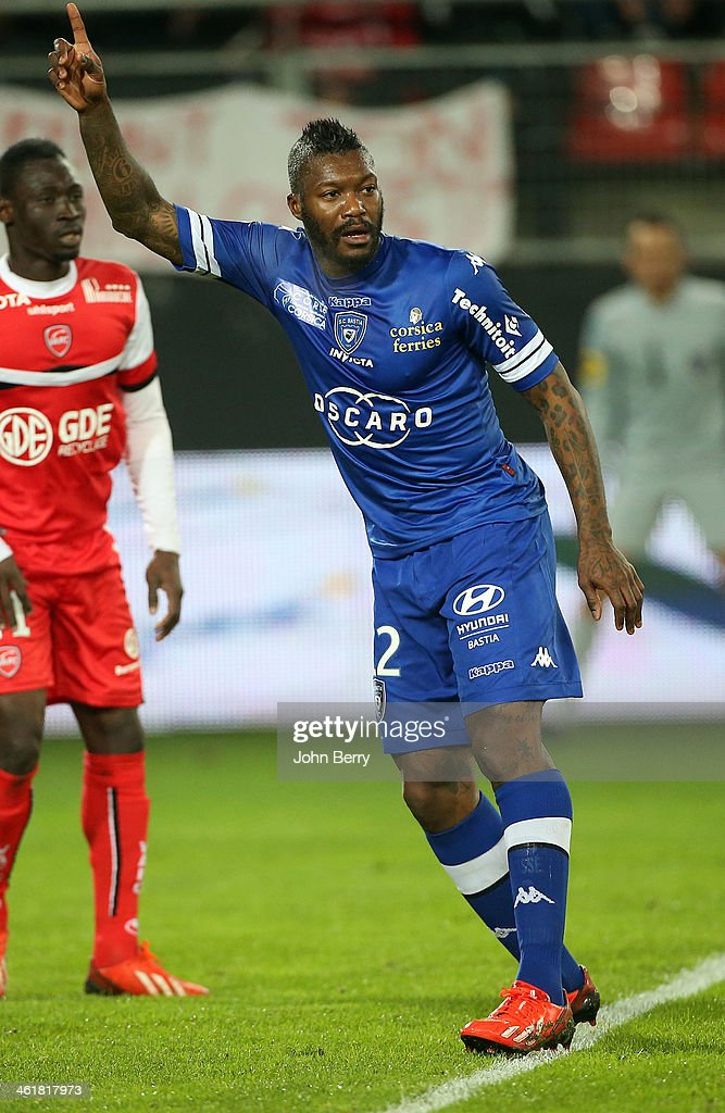 Djibril Cisse of Bastia plays his first match with his new club during the french Ligue 1 match between Valenciennes FC and SC Bastia at the Stade du Hainaut on January 11, 2014 in Valenciennes, France.